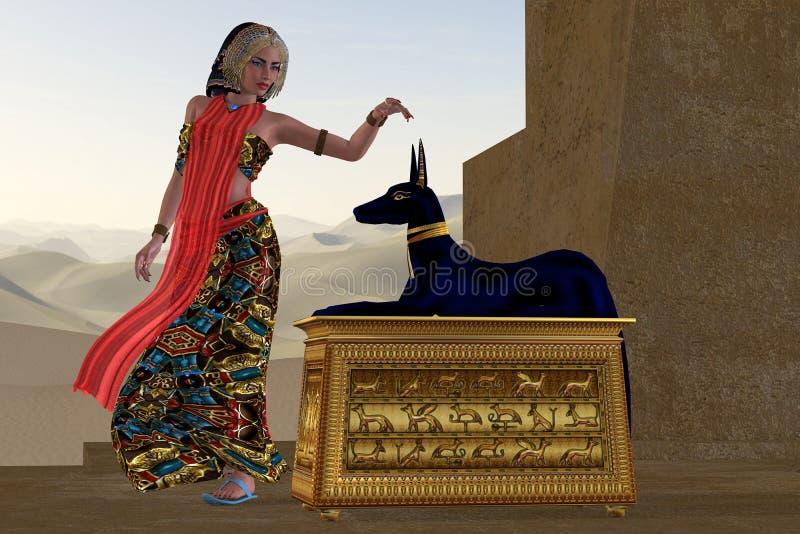 Egyptisk kvinna och Anubis staty royaltyfri illustrationer