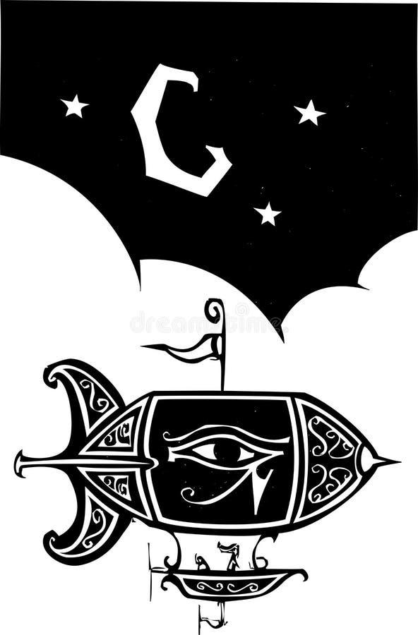 Egyptisk litet luftskepp vektor illustrationer