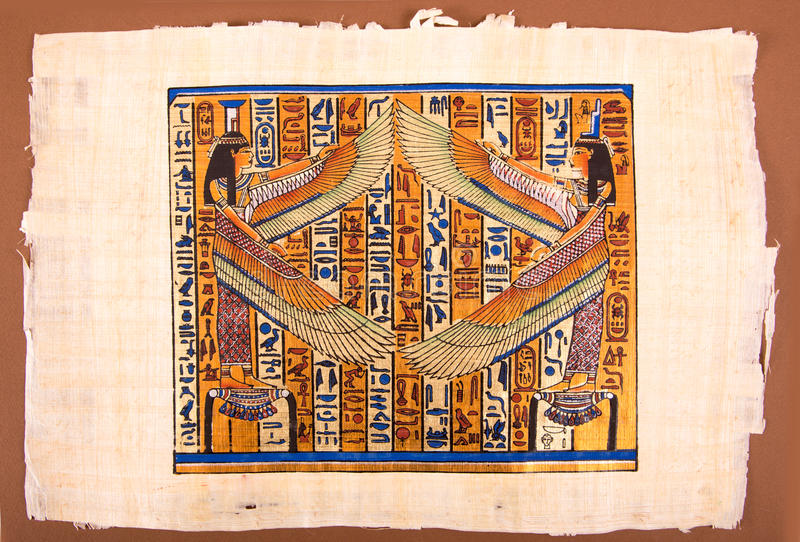 Egyptisk målning på papyruset royaltyfri bild