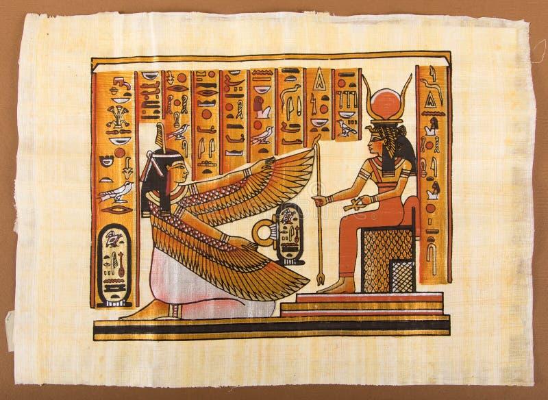 Egyptisk målning på papyruset royaltyfria bilder
