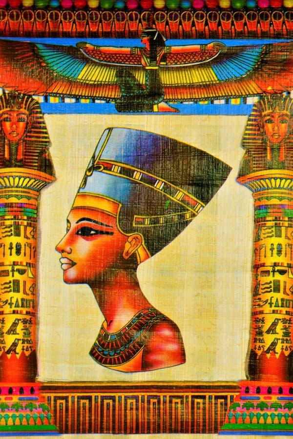 Egyptisk Nefertiti-drottning för papyrus av Egypten Papyrushandstilmaterial, i forntida tider som är gemensamma i Egypten I konst royaltyfri fotografi