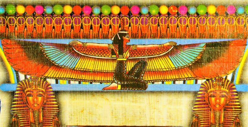 Egyptisk papyrus - ISIS är en viktig gudinna av magi i forntida Egypten, ett exempel av att förstå av det egyptiska idealet av royaltyfria foton