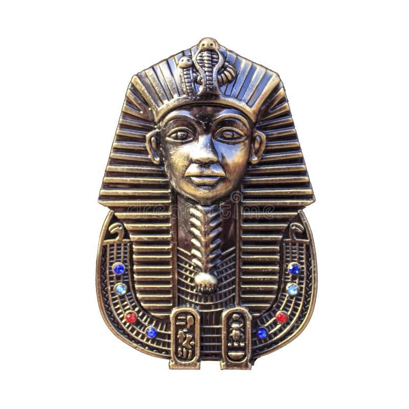 Egyptisk pharaohsmaskering som isoleras på vit, royaltyfria bilder