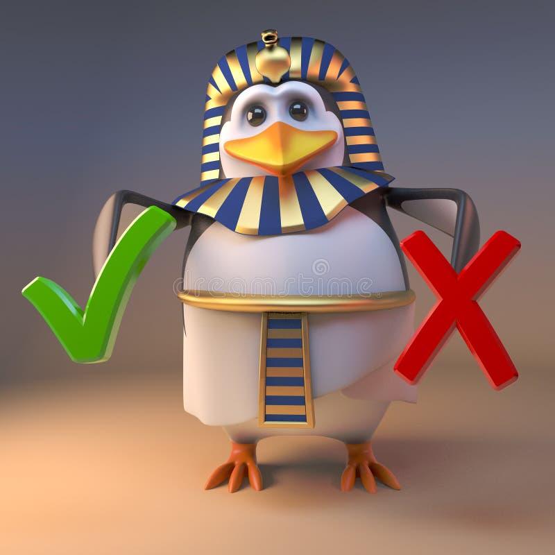 egyptisk pingvinfarao Tutankhamun som för tecknad film 3d rymmer en fästing och ett kors, illustration 3d royaltyfri illustrationer