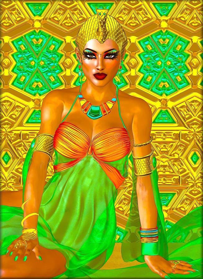 Egyptisk prinsessa i guld- och smaragdgräsplan med härliga modeskönhetsmedel, smink och den guld- kronan royaltyfria foton