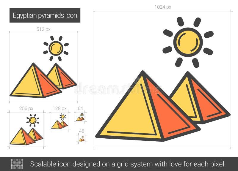 Egyptisk pyramidlinje symbol royaltyfri illustrationer