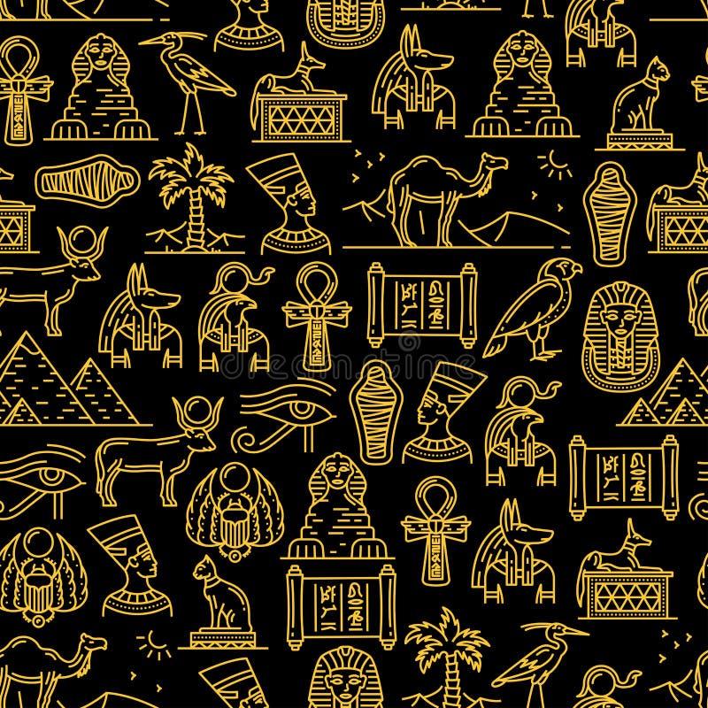 Egyptisk sömlös modell av forntida gudar av Egypten vektor illustrationer