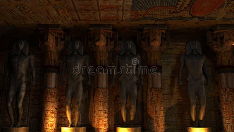 Egyptisk tempelinre stock illustrationer