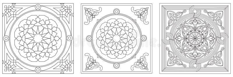 egyptisk tyglinje stiltent för 2 konst stock illustrationer