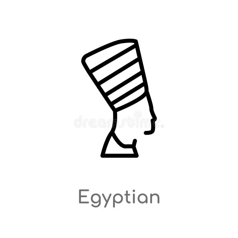 egyptisk vektorsymbol för översikt isolerad svart enkel linje beståndsdelillustration från monumentbegrepp Redigerbar vektorslagl vektor illustrationer