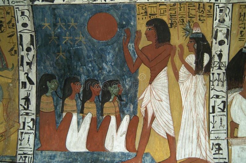 egyptisk wallpainting royaltyfri fotografi