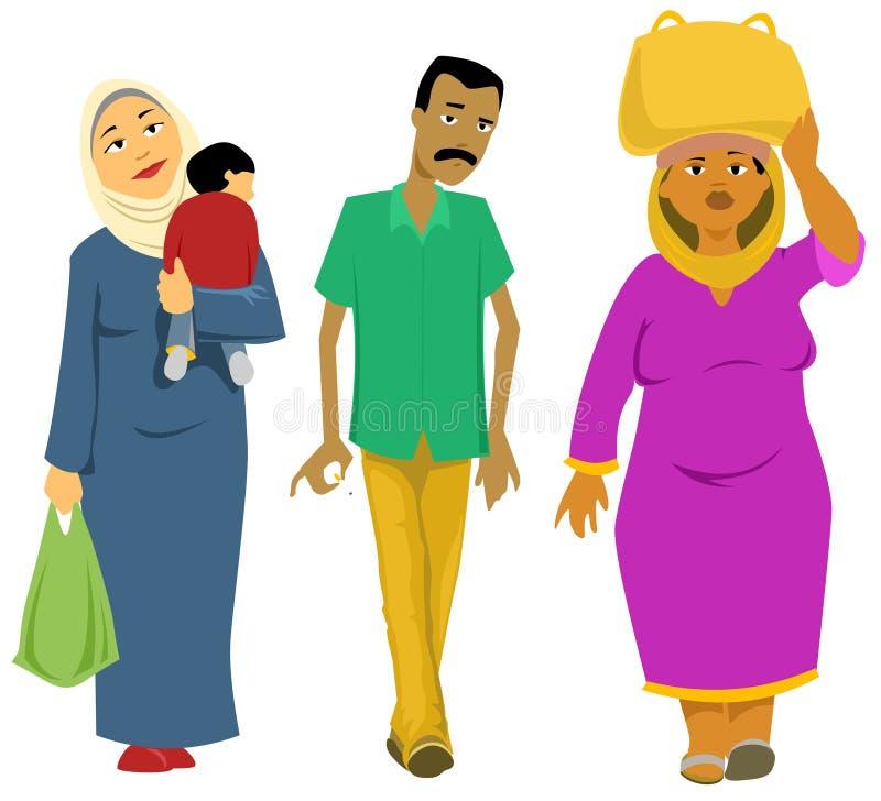 egyptiska gångare stock illustrationer