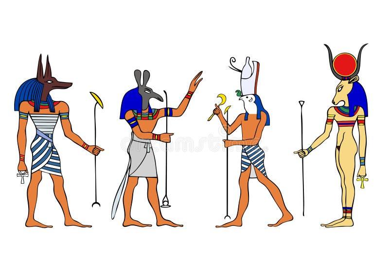 egyptiska gudinnagudar royaltyfri illustrationer