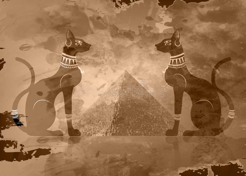 Egyptiska katter och antik Egypten pyramid Bastet den forntida Egypten gudinnan och gömma i handflatan, statyprofilen med Pharaon stock illustrationer