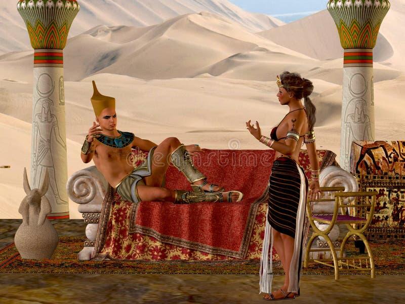 Egyptiska par och bänk stock illustrationer