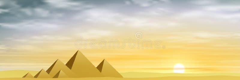 egyptiska pyramider royaltyfri illustrationer