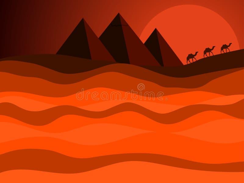 Egyptiska pyramider av forntida Egypten Desertera landskapet med en husvagn av kamel i bakgrunden av solen vektor stock illustrationer