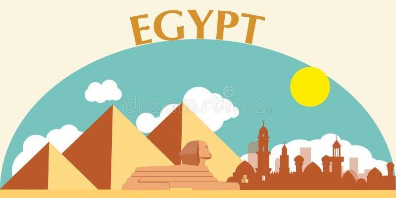 Egyptiska pyramider i öken stock illustrationer