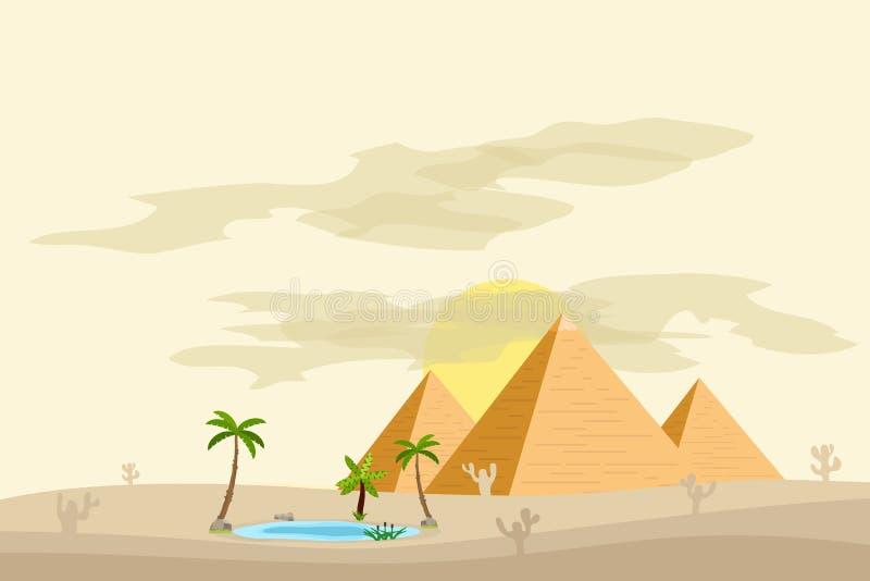 Egyptiska pyramider, nära en oas med palmträd och vatten stock illustrationer