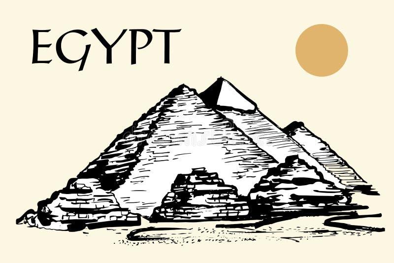 Egyptiska pyramider, stor pyramid av Giza vektor illustrationer