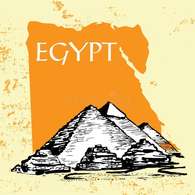 Egyptiska pyramider, stor pyramid av Giza, pyramid av Khafre vektor illustrationer