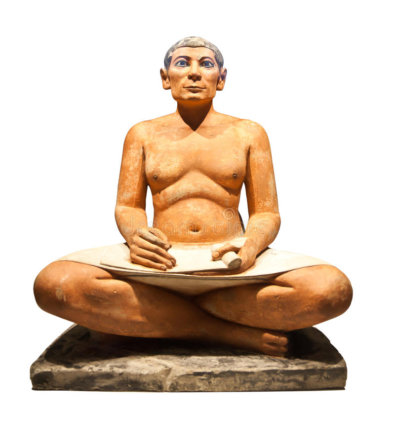 Egyptiska scribes skulptur royaltyfri fotografi