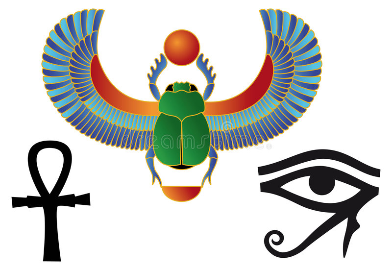 egyptiska symboler stock illustrationer