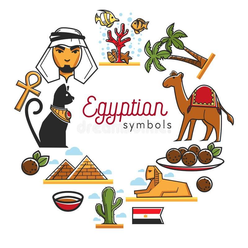 Egyptiska symboler som förläggas i cirkelaffisch, smsar vektorn stock illustrationer