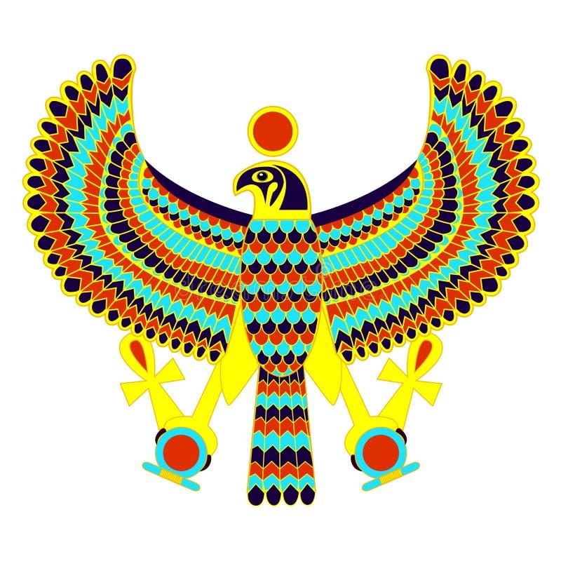 Egyptiskt symbol av falken royaltyfri illustrationer