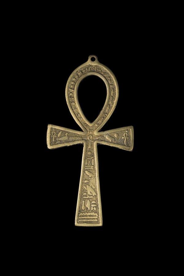 Egyptiskt symbol av liv Ankh som isoleras på svart arkivfoton