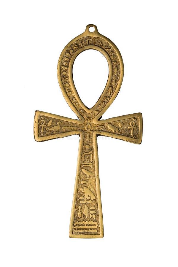 Egyptiskt symbol av liv Ankh som isoleras på vit bakgrund isolerade den täta hörlurarbilden för black slapp övre white för mikrof royaltyfri foto