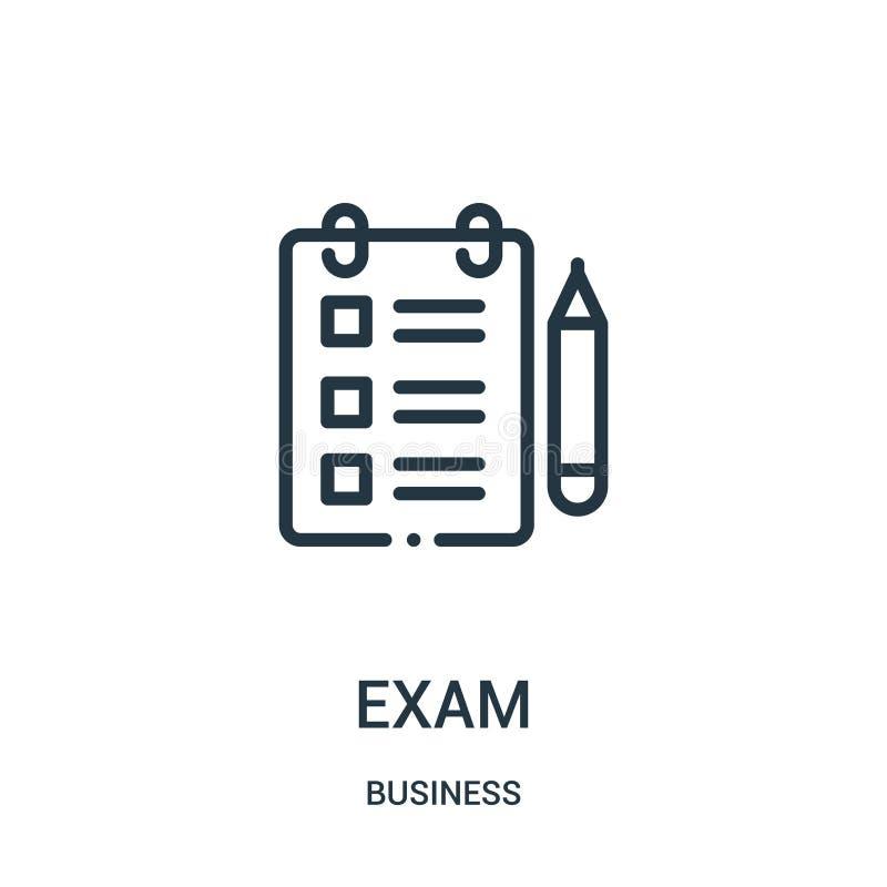 egzamin ikony wektor od biznesowej kolekcji Cienka kreskowa egzaminu konturu ikony wektoru ilustracja Liniowy symbol ilustracja wektor