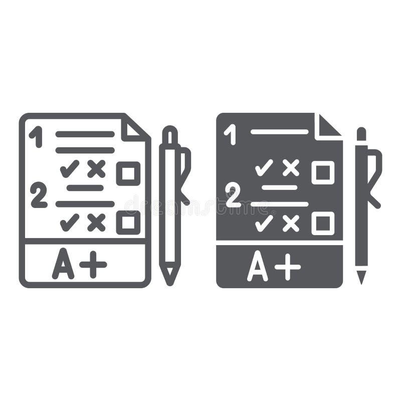 Egzamin linia, glif ikona, kwestionariusz i forma, zadanie znak, wektorowe grafika, liniowy wzór na białym tle royalty ilustracja