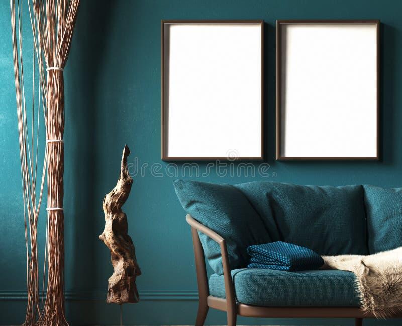 Egzamin próbny rama w ciemnozielonym domowym wnętrzu z kanapą, futerkiem, linowymi zasłonami i gałęziastą rzeźbą, ilustracji