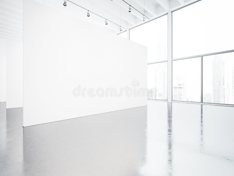 Egzamin próbny up biel przestrzeni galerii wnętrze 3 d czynią zdjęcie stock