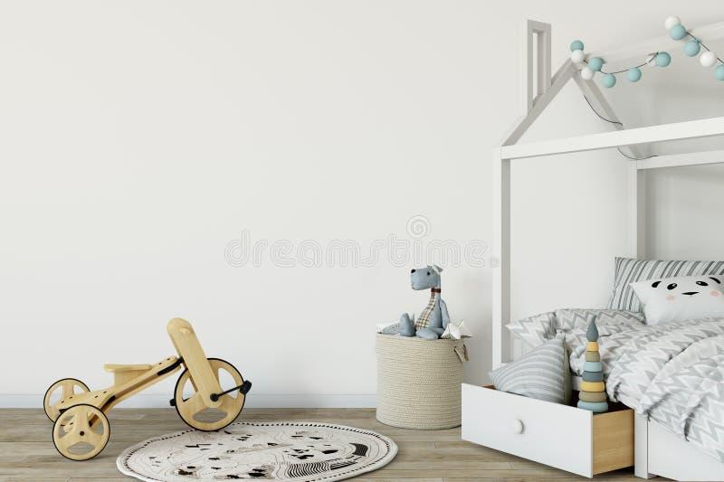 Egzamin próbny up izoluje w dziecko pokoju wnętrzu Wewnętrzny scandinavian styl 3D rendering, 3D ilustracja ilustracji