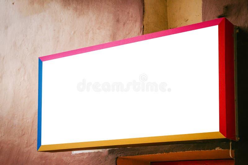 Egzamin próbny Up Opróżnia kolorowego signboard na starej budynek ścianie obraz royalty free