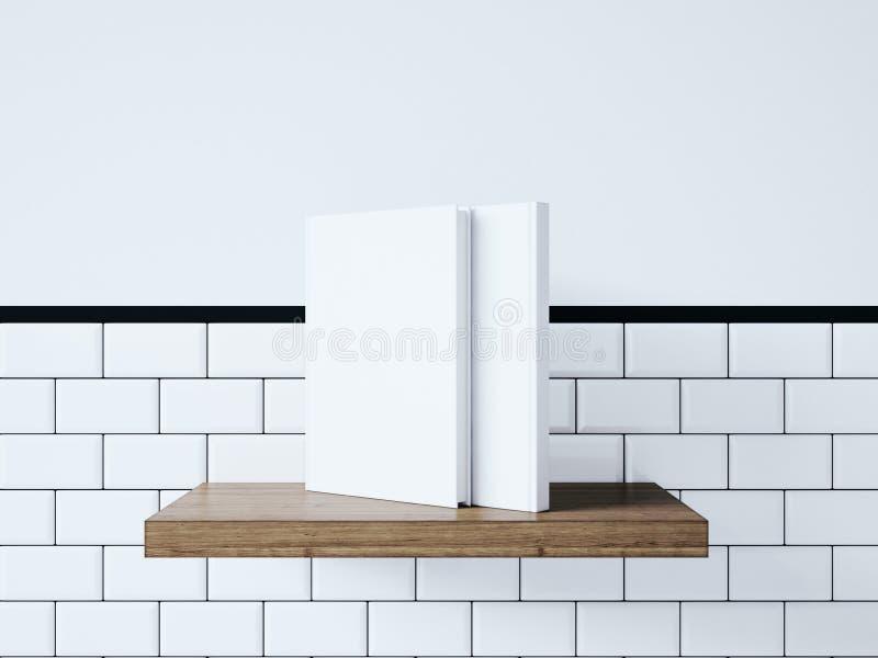 Egzamin próbny up puste białe książki świadczenia 3 d zdjęcia stock