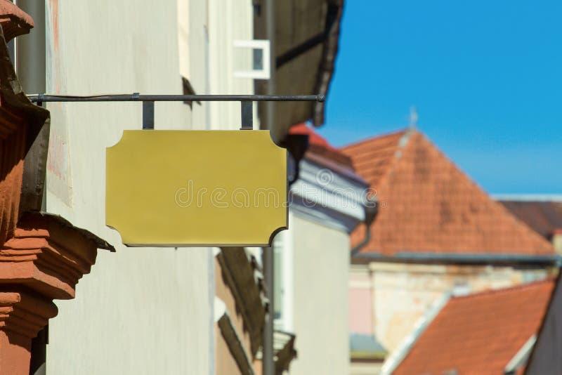 Egzamin próbny Up Pusty signboard sklep lub restauracja na ścianie obrazy stock