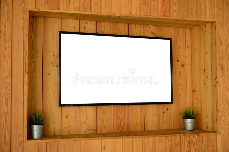 Egzamin próbny up TV ekran na drewnianej ścianie zdjęcia royalty free