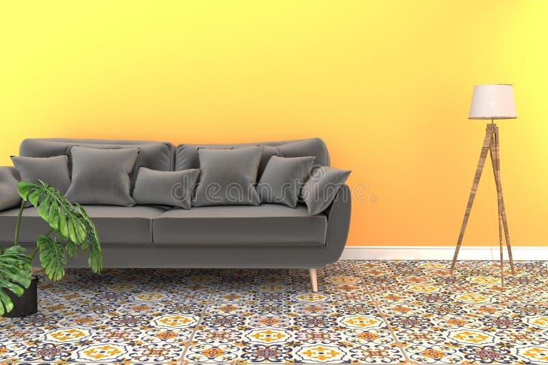 Egzamin próbny w górę żywego izbowego wnętrza z dachówkowej klasycznej tekstury podłogowym tłem na kolor żółty ściany tle, minima royalty ilustracja