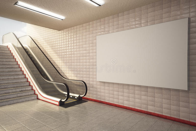 Egzamin próbny w górę billboardu w stacja metru eskalatorze royalty ilustracja