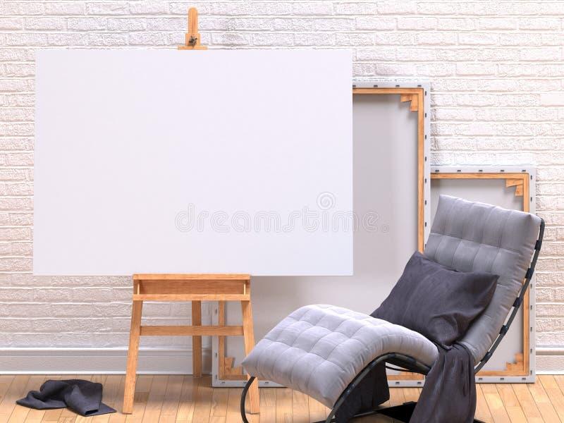 Egzamin próbny w górę kanwy ramy z popielatym łatwym krzesłem, sztalugą, podłoga i ścianą, 3d royalty ilustracja