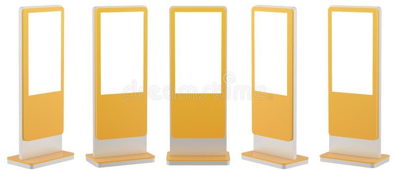 Egzamin próbny w górę Pięć czarnych Ewidencyjnych pokazów Sztandarów stojaki w twój projekcie świadczenia 3 d ilustracji