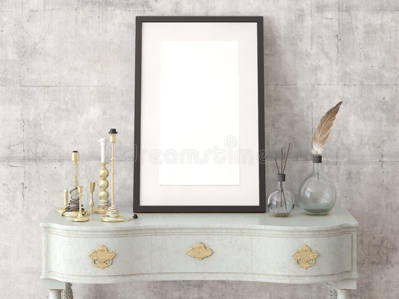 Egzamin próbny w górę plakat pustej ramy na retro dresser obrazy royalty free