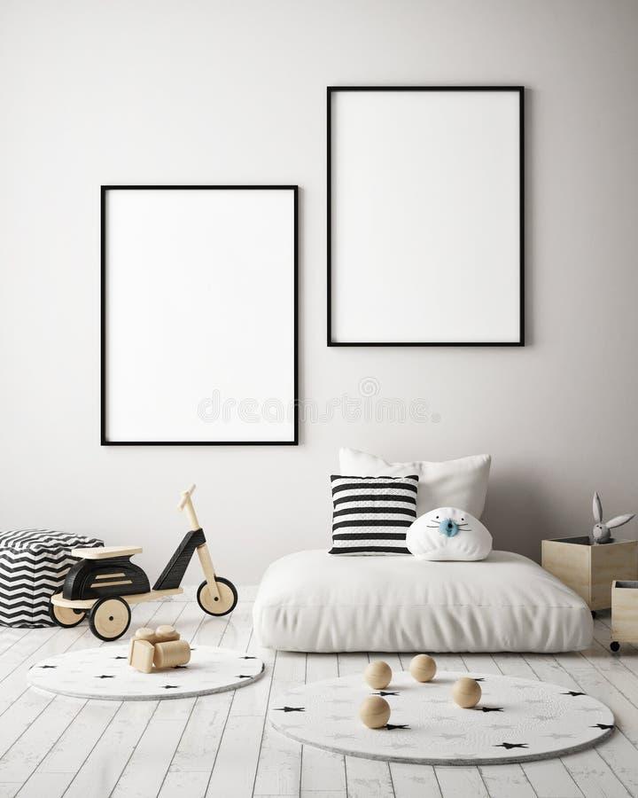 Egzamin próbny w górę plakat ram w dziecko sypialni, scandinavian stylowy wewnętrzny tło, 3D odpłaca się ilustracja wektor