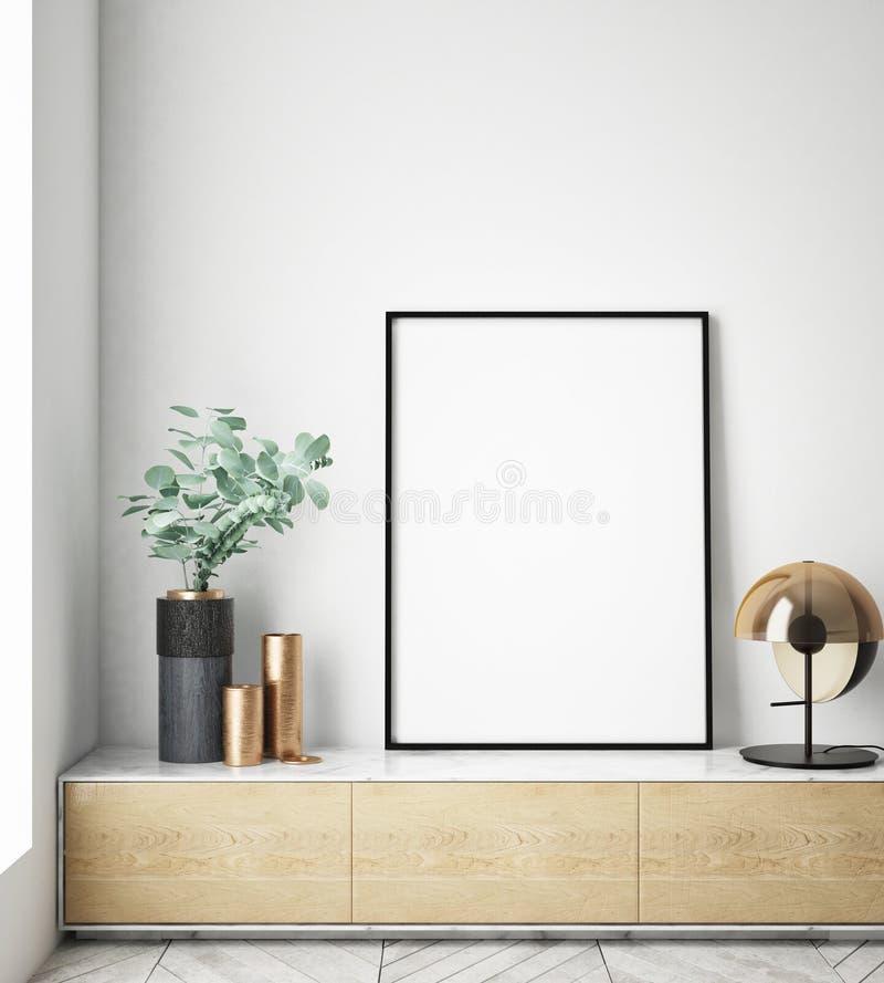 Egzamin próbny w górę plakat ram w dziecko sypialni, scandinavian stylowy wewnętrzny tło, 3D odpłaca się ilustracji