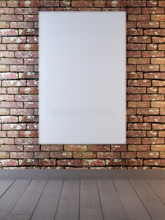 Egzamin próbny w górę plakat ram w tła ściana z cegieł czerwonym kolorze ilustracja wektor