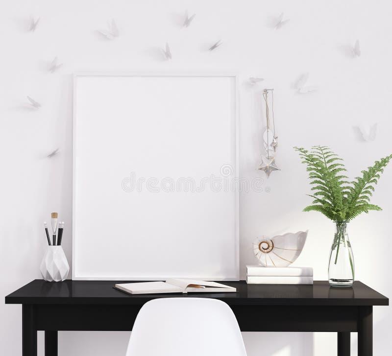 Egzamin próbny w górę plakat ramy w żywym pokoju, pracujący teren, skandynawa styl zdjęcia stock