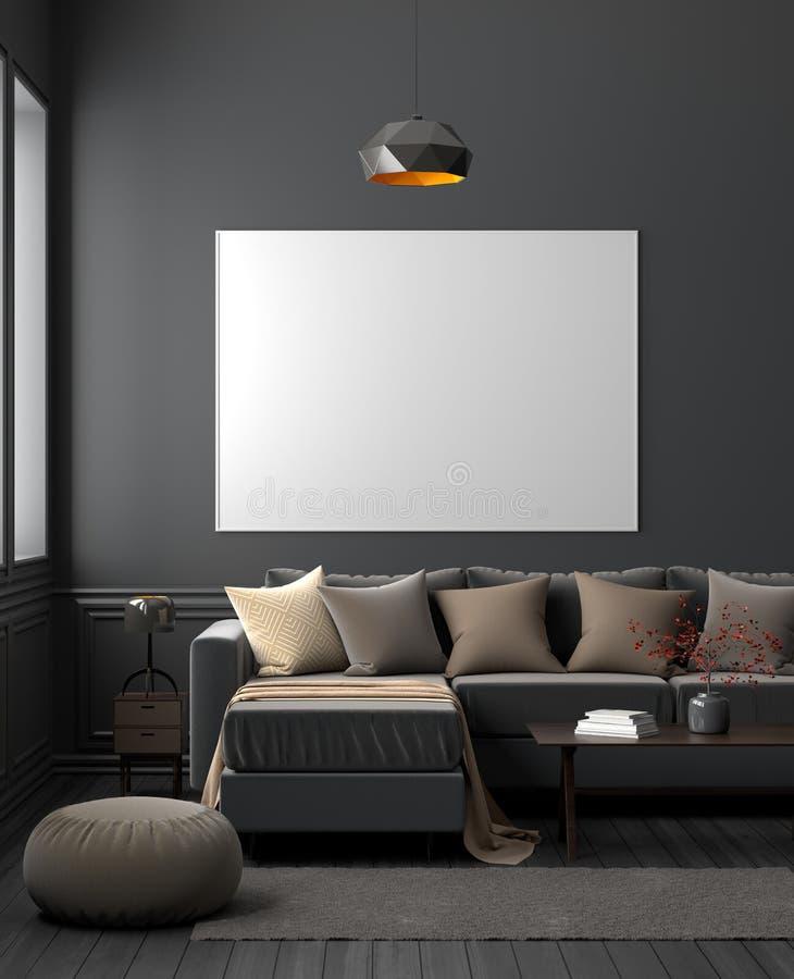 Egzamin próbny w górę plakat ramy w ciemnym nowożytnym żywym izbowym wnętrzu ilustracja 3 d zdjęcia royalty free